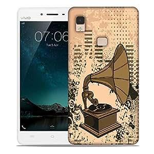 Snoogg Gramophone Music Designer Protective Back Case Cover For Vivo V3 Max