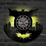 OOFAY Clock@ Wanduhr aus Vinyl Schallplattenuhr Upcycling LED Batman Familien Dekoration 3D Design-Uhr Wohnzimmer Schlafzimmer Restaurant Wand-Deko Schwarz/Durchmesser 30 cm