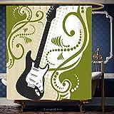 Iprint 182,9x 182,9cm Rideau de douche Musique Guitare basse électrique Figure avec tourbillons Fond Artful Illustration Vert olive Blanc Noir 10599Polyester Accessoires de salle de bain Décoration de la Maison, Polyester, Multy, 72W x 72H Inch