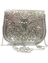Sling Bag For Women Party Clutch White Metal Clutches Vintage Handmade Brass Metal Purse Antique Hand Clutch
