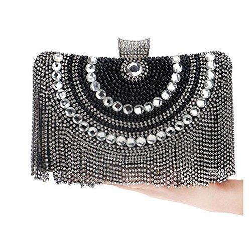 NAOMIIII Frauen Sparkly Diamante Damen Party Abend Braut Prom Hochzeit Schulter Clutch Bag Black