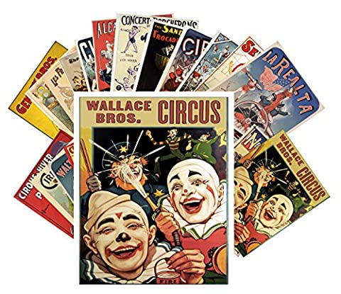 Postcard Pack 24pcs Vintage Circus Clowns and Athletes Vintage Posters