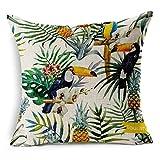 SilkCrane Housse de Coussin, Toucan and Flowers Art Painting Cotton Linen Decorative Throw Pillow Case Cushion Cover, 17.7' x 17.7'