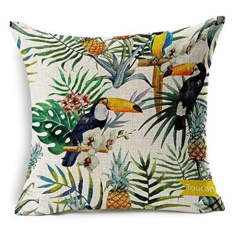 SilkCrane Housse de Coussin, Toucan and Flowers Art Painting Cotton Linen Decorative Throw Pillow Case Cushion Cover, 17.7
