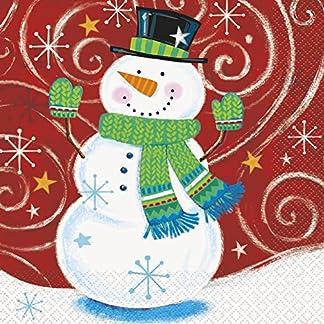 Servilletas de papel de Navidad Swirl muñeco, pack de 16