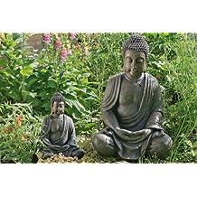 Scultura / Statua Decorazione Giardino Meditatore Buddha Altezza 70 Cm Stile Asia