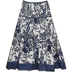 Feoya Étnico Falda Larga Casual Estampado Floral Bohemia Maxi Skirt para Verano Playa Viaje para Mujeres, Ramas de Árboles
