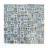 Mosaikfliesen Fliesen Mosaik Küche Bad WC Wohnbereich Fliesenspiegel Silber Blau Glas glänzend 8mm Neu #659
