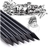 Generic Mont Marte Woodless Graphite Charcoal Sticks Soft HB 2B 4B 6B 8B EE Pencils for Artist Beginner (Large, Black) - Set of 6 Pieces