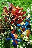 Windmühle-4eckig groß, Gartenwindmühle 100 cm, Massivholz MODERNE FORM, E6CK100-gras-OS KLASSIK MIT BALKON-Rand Fenster, dunkelgrün GRASGRÜN,voll funktionstüchtig,schöne Details, Fensterkreuz Deko-Windmühlen Outdoor, Windfahne / Windrad o. SOLAR o. Außenbeleuchtung / Solarbeleuchtung / LED Licht 1 m groß grün dunkelgrün grasgrün, Flügel - Leisten grüner Korpus unten, wunderschöne Gartenzierde