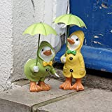 Shudehill Dilly and Dally Puddle Ducks with Umbrellas Garden Ornament