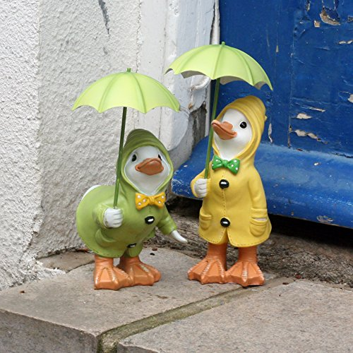 Dilly and Dally Puddle - Decorative garden figure, duck design with umbrella