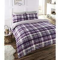Angus juego de ropa de cama King Size edredón funda de edredón y 2 fundas de almohada, diseño a cuadros, color morado/blanco/guinda