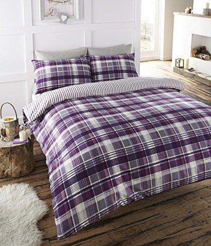 Angus flanelette doppio trapunta copripiumino e 2federa set di biancheria da letto, con motivo scozzese–viola/bianco/prugna