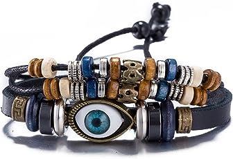 Yellow Chimes Evil Eye Wrap Collection Charm Bracelet for Men (Multi Color)(YCFJ-057LTHR-BR)