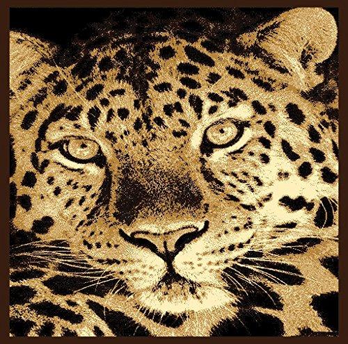 Luxus Bettwäsche Kollektion Leopard Schwarz Beige/Elfenbein Muster Bereich Teppich Neu # Leopard Face H5 - Schwarz Elfenbein Teppich