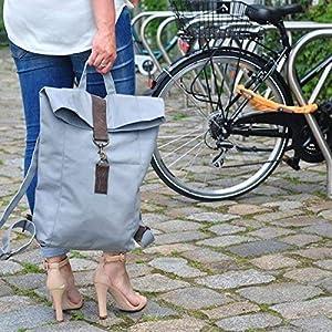 grau Canvas Segeltuch Rucksack mit Leder groß
