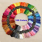 Rrimin Polyester Embroidery Thread Hand Cross Stitch Floss Sewing Skeins Craft (100 Colors)