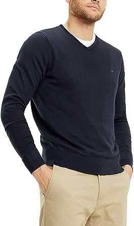 Tommy Hilfiger Men's Core Cotton-Silk Vneck Jumper