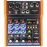 G-MARK Console de mixage, à 4canaux, avec port USB, Bluetooth, stéréo, pour Live et Studio