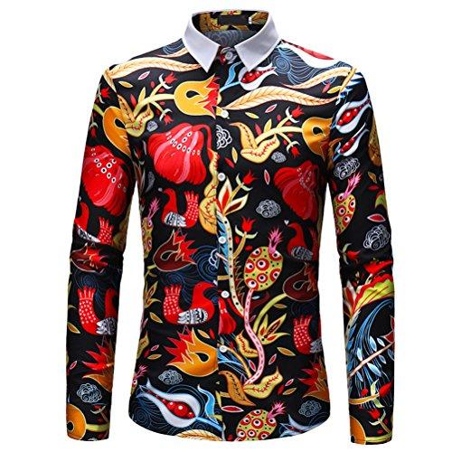 Zhuhaijq uomo adolescenti taglie forti slim fancy camicie luxury design manica lunga 3d floreali hawaiano locale notturno casual tops