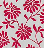 Cheapest Barbara Hulanicki Ophelia Floral Red/Grey Real Flock Wallpaper Was £55 Now £25 on