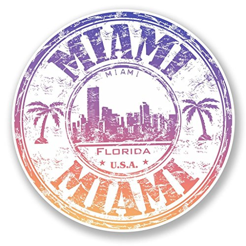 Miami Notebook Skin (2 x Miami Florida USA vinyl Aufkleber Aufkleber Laptop Reise Gepäck Auto Ipad Schild Fun # 6510 - 10cm/100mm Wide)