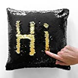#1: LilyPin Stylish Sequin Mermaid Throw Pillow Cover with Magical Color Changing Reversible Paulette Design Decor Cushion Pillowcase Set of 1 - Golden & Black