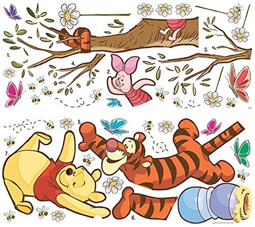 RoomMates RM - Disney Winnie Puuh schnapp den Honig Wandtattoo, PVC, bunt, 48 x 13 x 2.5 cm - Disney Wandtattoos Boy