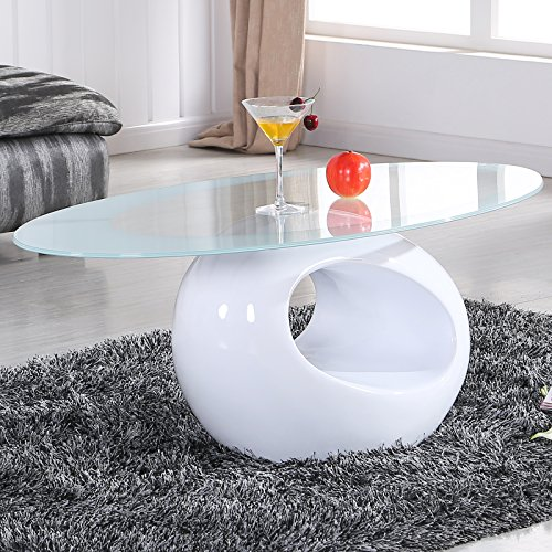 UEnjoy White Glass Oval Coffee Table Contemporary Modern