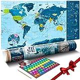 murando - Rubbelweltkarte englisch XXL blau - 100x50 cm - Weltkarte zum Rubbeln mit Länder-Flaggen - Laminiert - Design Geschenk-Tube - Viele Extras - Rubbel Landkarte Poster zum freirubbeln - Geschenk Idee - World Map - k-A-0217-o-b