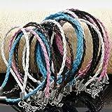 79670c168384 ultnice 50pcs pulsera cadena trenzado cuerdas para muñeca con cierre de  langosta pulsera Cable para fabricación de joyería