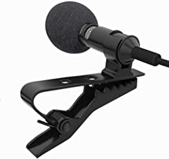SCORIA 3.5mm Clip On Mini Lapel Lavalier Microphone Great for Voice-Overs, Interviews, Vlogs