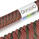 Paracord 550 Seil Rot | Army-Green | 31 Meter Nylon-Seil mit 7 Kern-Stränge | für Armband | Knüpfen von Hunde-Leine oder Hunde-Halsband zum selber machen | Seil mit 4mm Stärke | Mehrzweck-Seil | Survival-Seil | Parachute Cord belastbar bis 250kg (550lbs) - Marke Ganzoo