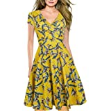 Vestidos Elegantes Floral Niña Mujer Verano, Amarillo Boho Chic Vestidos Tallas Grandes, Cuello en V Vestidos, hasta la Rodil