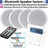 SMART HOME WALL AMP & 4x CEILING SPEAKER KIT – 4x 80W Moisture Resistant Speakers & Mini Wall Mounted Bluetooth Amplifier *ECHO/ALEXA SPOTIFY* Stereo HiFi Kitchen – Wireless Home Music Audio System