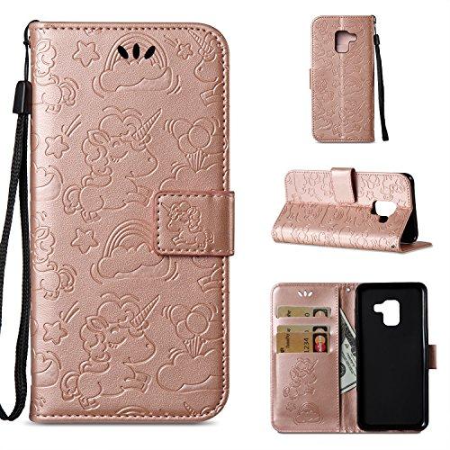 Preisvergleich Produktbild Galaxy A5 2018 Hülle, Anlike Schutzhülle für Samsung Galaxy A5 2018 Wallet Tasche [Einhorn - geprägte Serie] Handyhülle - Roségold