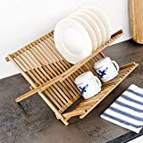 Relaxdays CROSS Dish Rack, 23 x 42 x 36 cm, Bamboo Two-Tier Foldable Drying Rack, Natural Brown