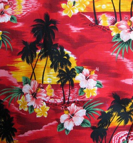 P.L.A. | Original Camicia Hawaiana | Signori | S - 4XL | Maniche Corte | Tasca Frontale | Hawaii Stampa | Fiori | Rosso Rosso