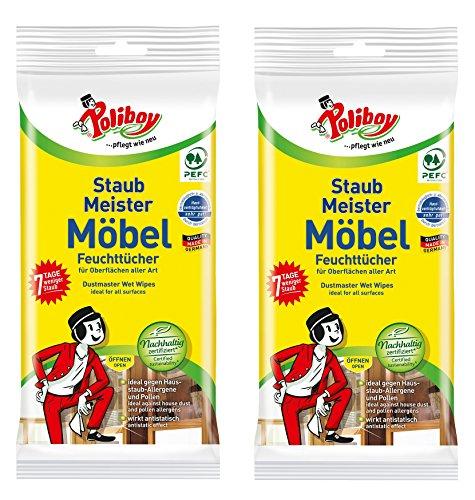 Haushalt, Möbel (Poliboy - Staubmeister Möbel Feuchttücher - speziell für Holzoberflächen entwickelte Reinigungstücher - 2er Pack - 2x24 Tücher - Made in Germany)