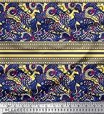 Soimoi Gelb Samt Stoff Streifen, Blumen & Paisley dekorativ