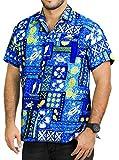 La Leela manches courtes aloha caribbean bouton plage tropicale bas hommes de chemise occasionnels xs bleu - 5xl