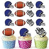 vorgeschnittenen American Football Helm, Blau–Essbare Cupcake Topper/Kuchen Dekorationen (12Stück)