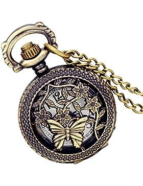 Lancardo Herren Vintage Taschenuhr, Schmetterling Bronze Analog Quarz Hohe Openwork Uhr mit Halskette Kette Umhängeuhr...