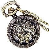 LANCARDO Taschenuhr Vintage Herren Damen Uhr Analog mit Metall Kette Weihnachten Geschenk LCD100885