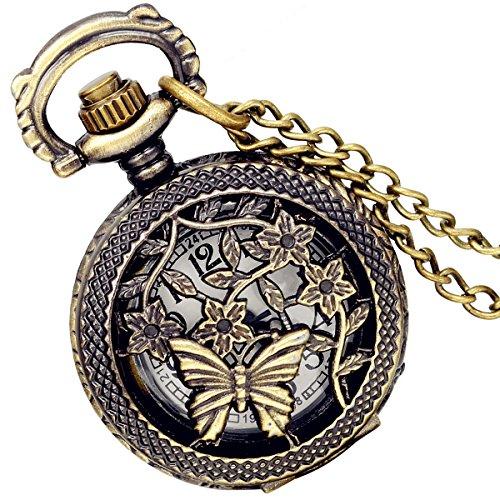 Lancardo Herren Vintage Taschenuhr, Schmetterling Bronze Analog Quarz Hohe Openwork Uhr mit Halskette Kette Umhängeuhr Geschenk