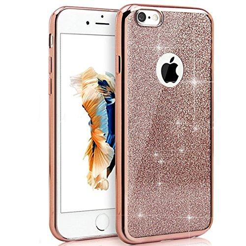 EUWLY Bling Bling Cover Case per iPhone 7/iPhone 8 (4.7),Ultra Sottile Silicone TPU Custodia Case per iPhone 7/iPhone 8 (4.7) Brillant Soft TPU Case Cover Glitter Bella Elegante Plating Casa Copertu Bling Oro Rosa