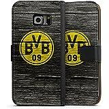 Samsung Galaxy S6 Edge Flip Tasche Schutz Hülle Walletcase Bookstyle Borussia Dortmund BVB Holzoptik
