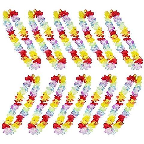 [12 Stück]Zilong Hawaii Blumenkette, Multicolor Bunt Hawaiikette, Hawaii Blumen Halskette Lei für Kostüme, Strand, Party deko und hochzeitsdeko