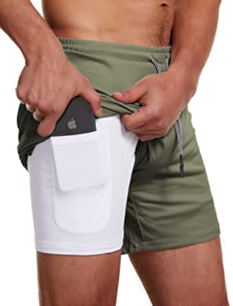 Leezepro Men 2 in 1 Gym Shorts Sports Shorts Sweat Shorts Mens Running Shorts Joggers Shorts with Pocket and Drawstring